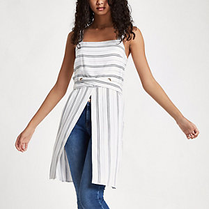 Cream stripe eyelet longline cami top
