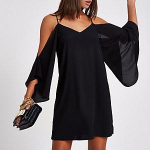 Zwarte schouderloze cami swingjurk