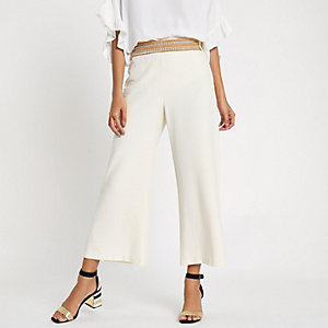 Cream stud trim wide leg cropped trousers