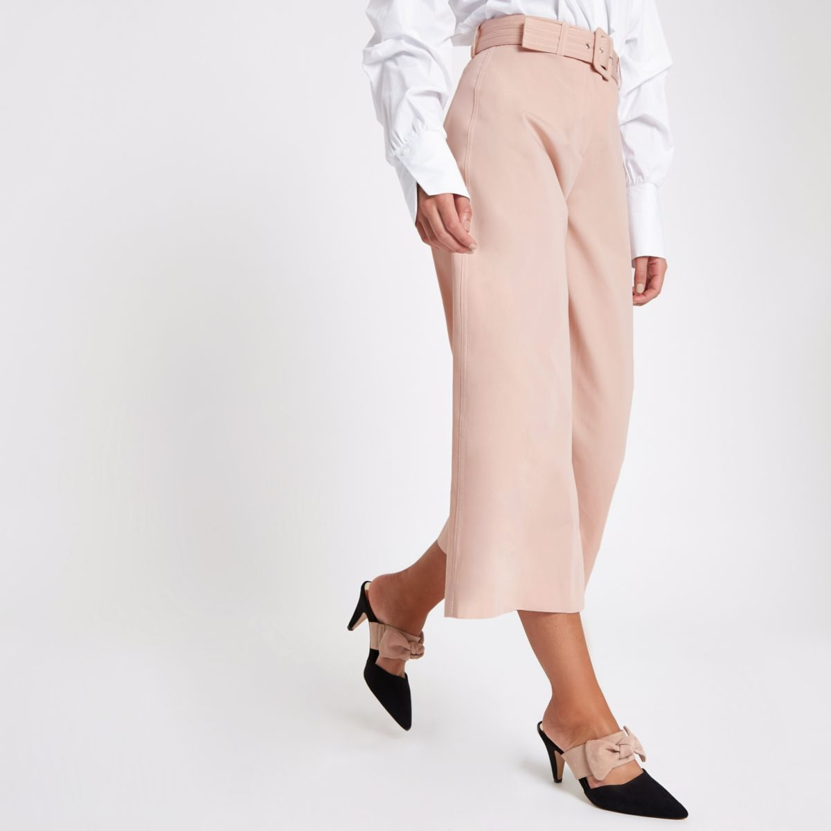 Pink stitch belted culottes