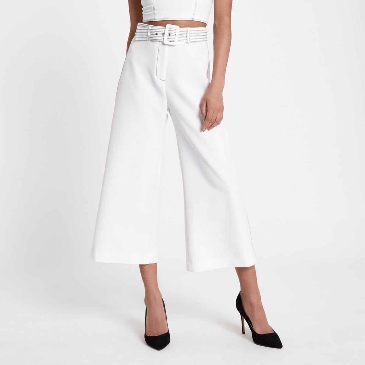 White belted wide leg culotte pants