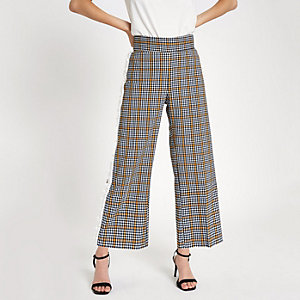 Navy check side trim culottes