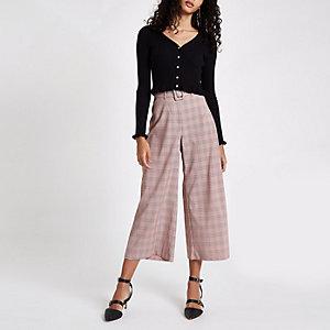 Jupe-culotte large à carreaux rose avec ceinture