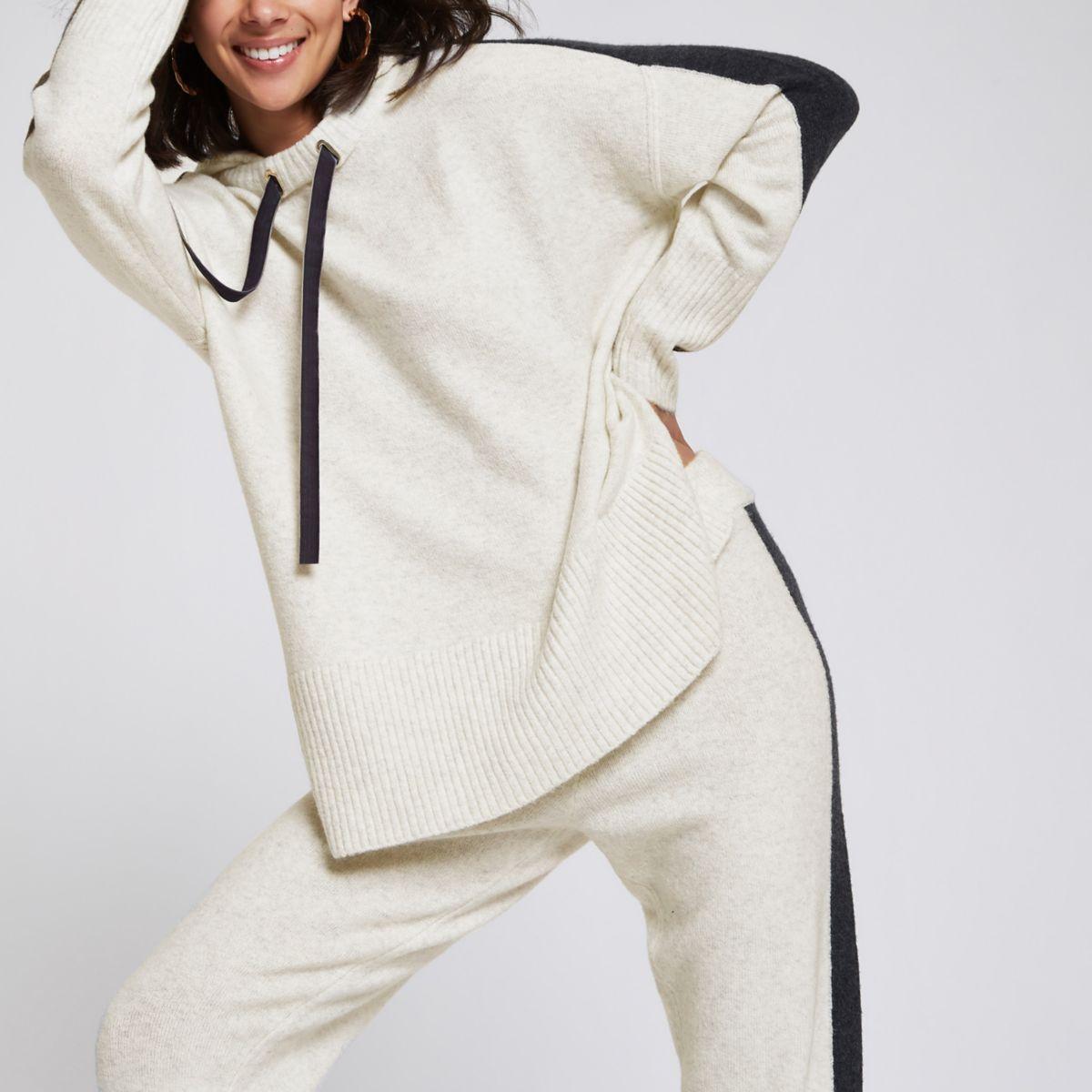 Beige knit hooded jumper