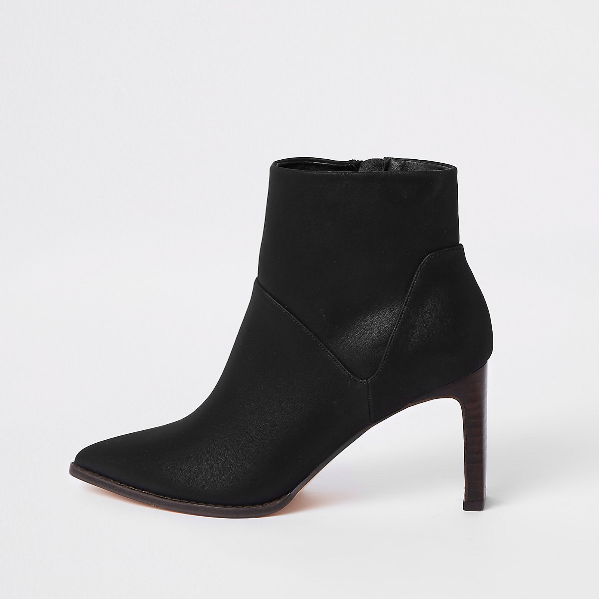 Black pointed slim square heel boots