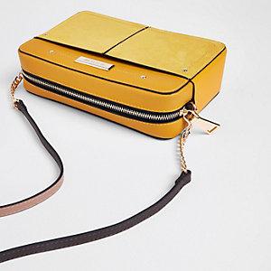 Yellow tassel boxy cross body bag