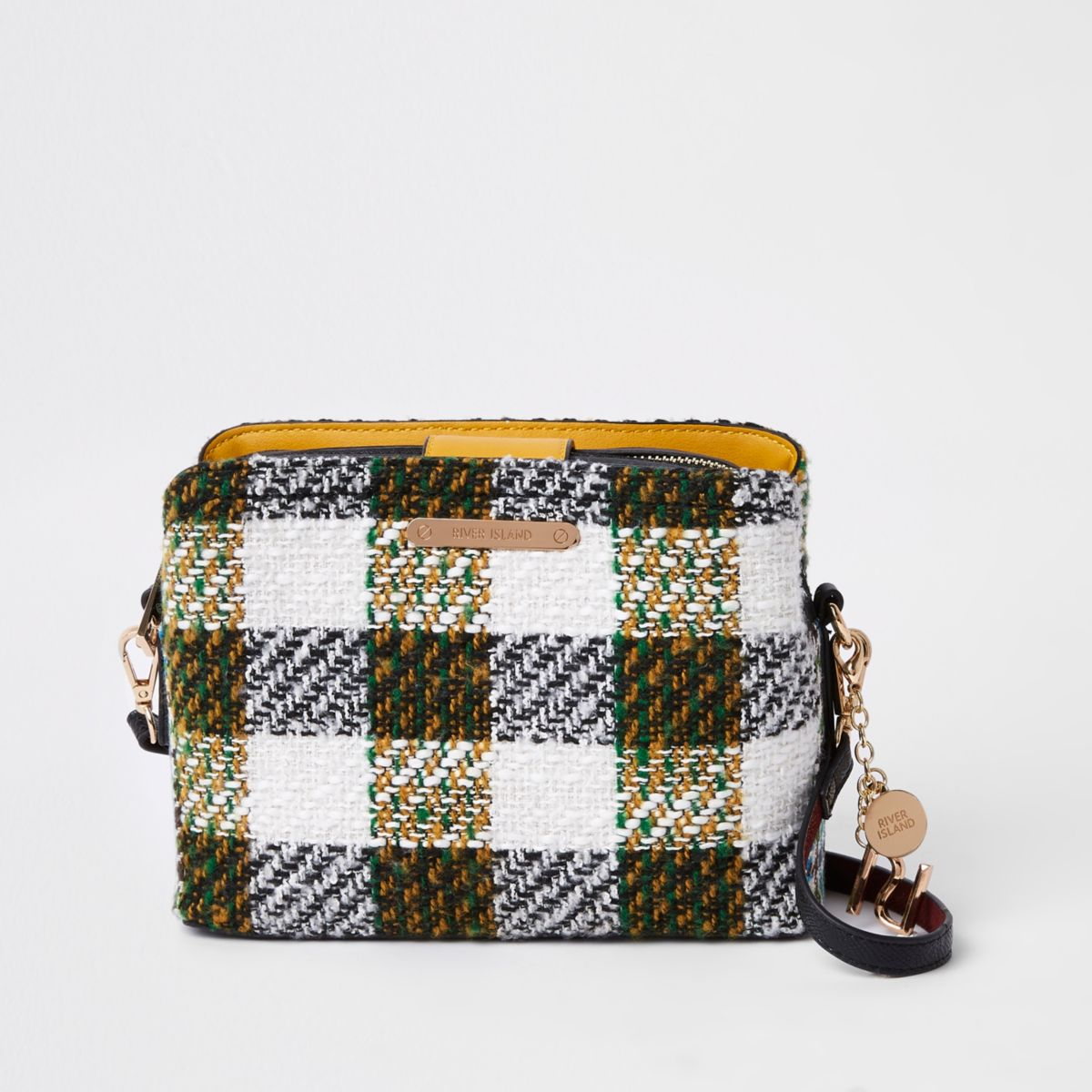 White check triple compartment crossbody bag