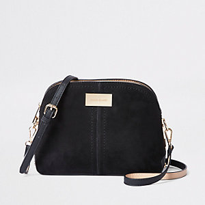 Black textured kettle cross body bag