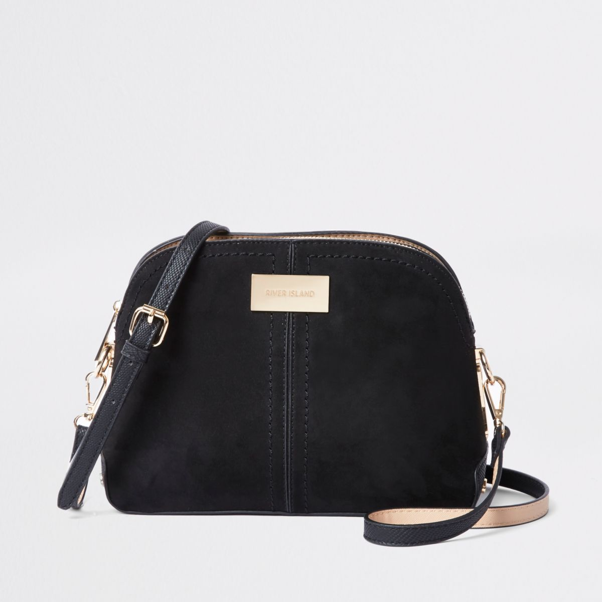 Black Textured Kettle Cross Body by River Island