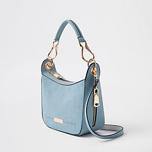 Light blue scoop cross body bag