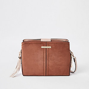 Beige open top triple compartment bag