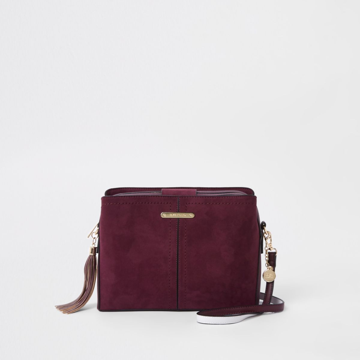 Dark red bucket cross body bag