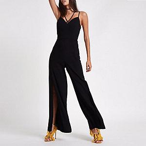 Zwarte cami jumpsuit met split in de wijde pijpen
