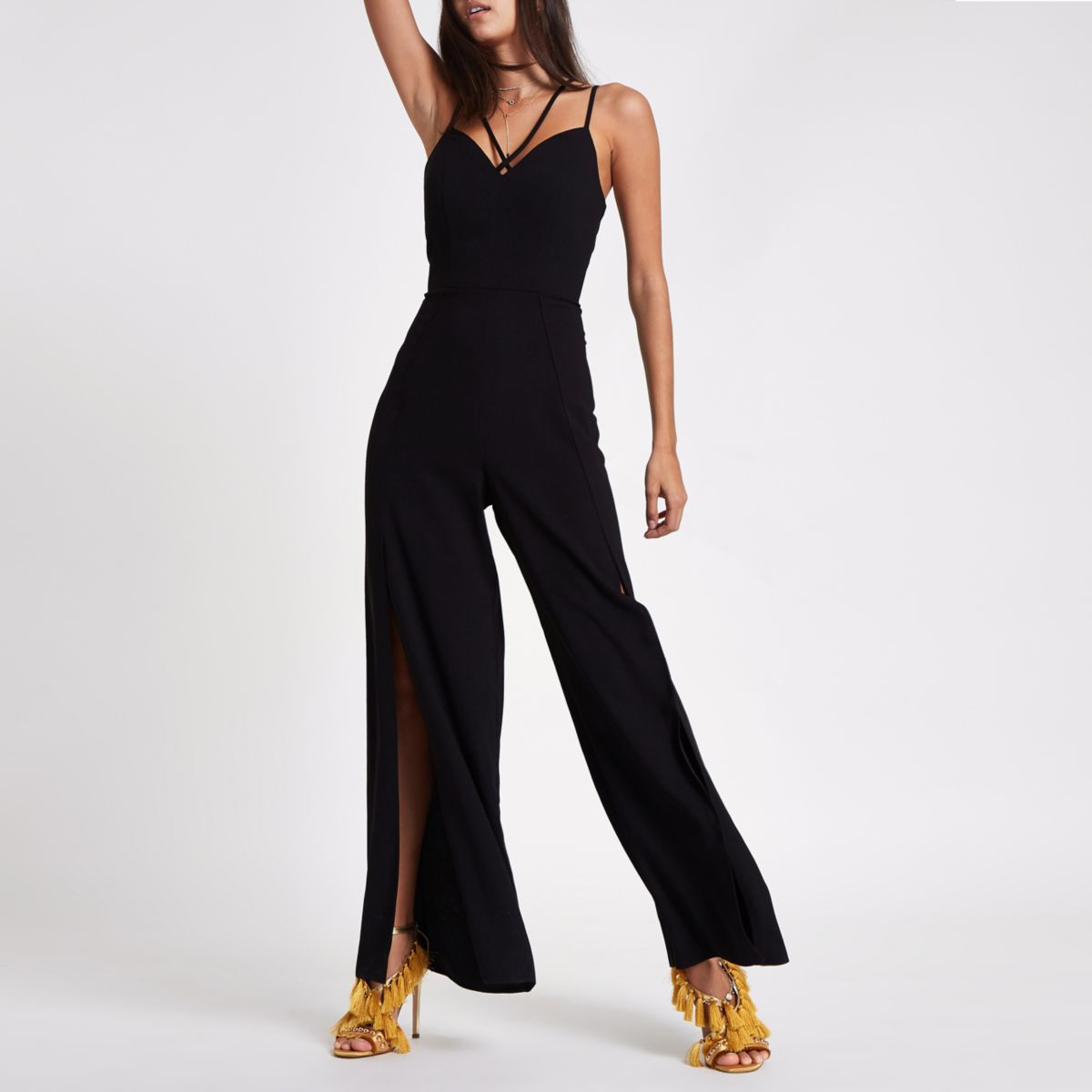 Black wide split leg cami jumpsuit