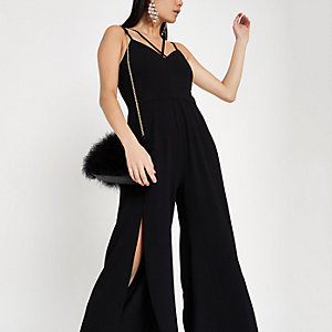 Black split wide leg cami jumpsuit