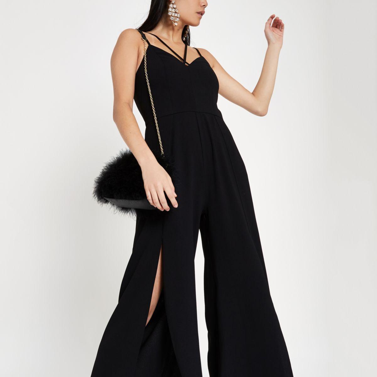 Zwarte cami jumpsuit met split en wijde pijpen