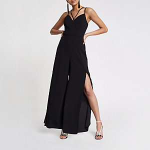 Black wide split leg jumpsuit
