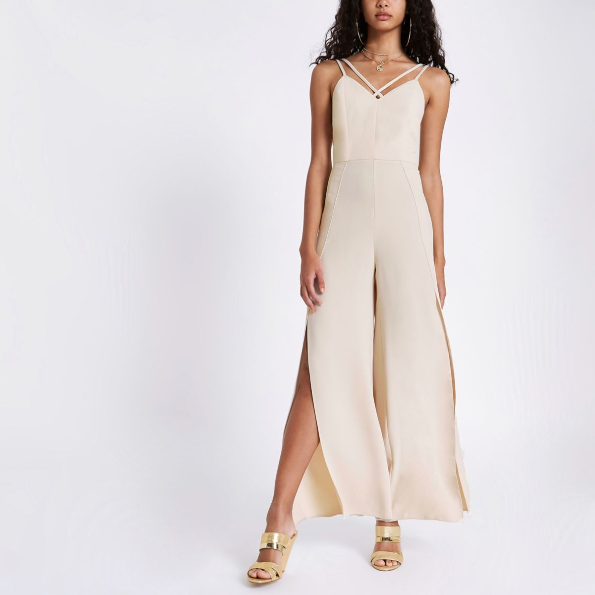 Beige split wide leg cami jumpsuit
