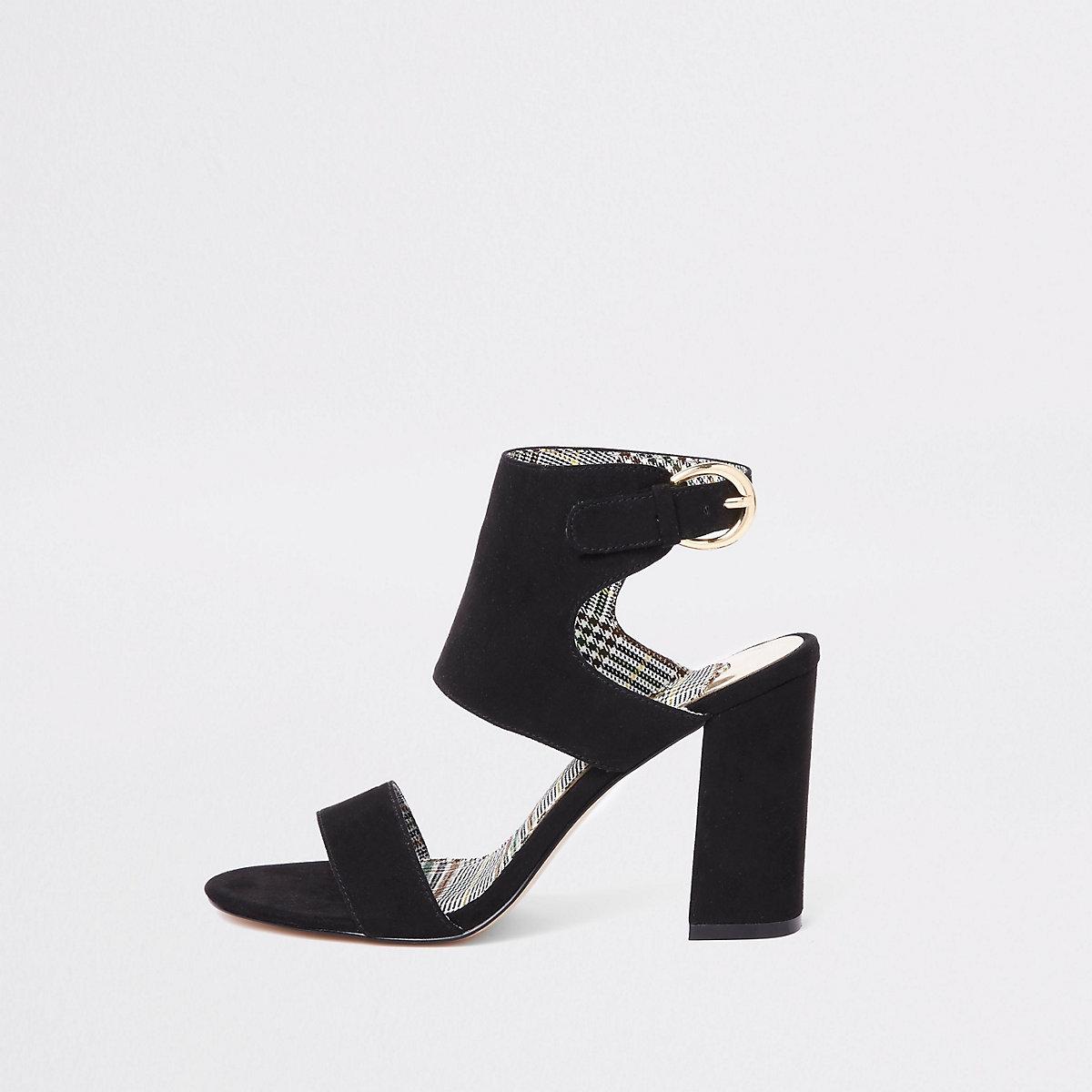 Black wide fit faux suede block heel sandals