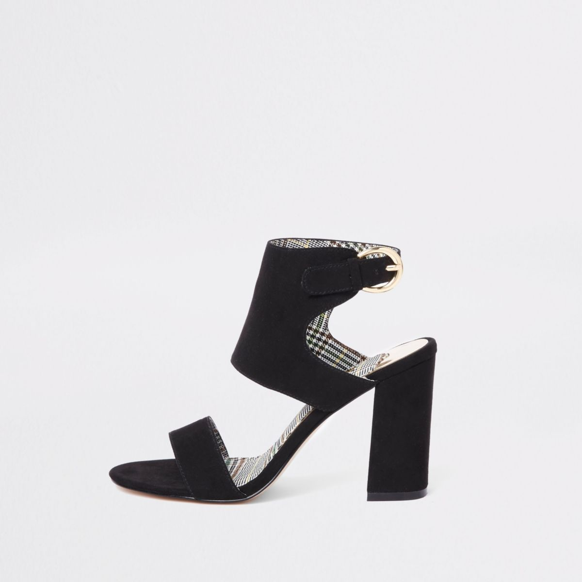 Black wide fit faux suede block heel sandals