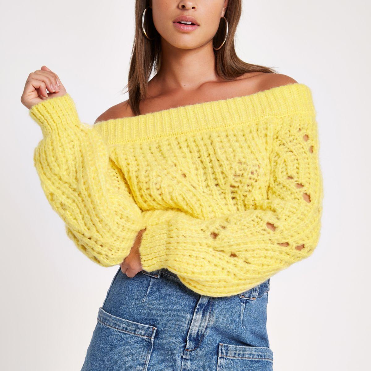 Yellow knit bardot jumper