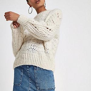 Crème grofgebreide pullover