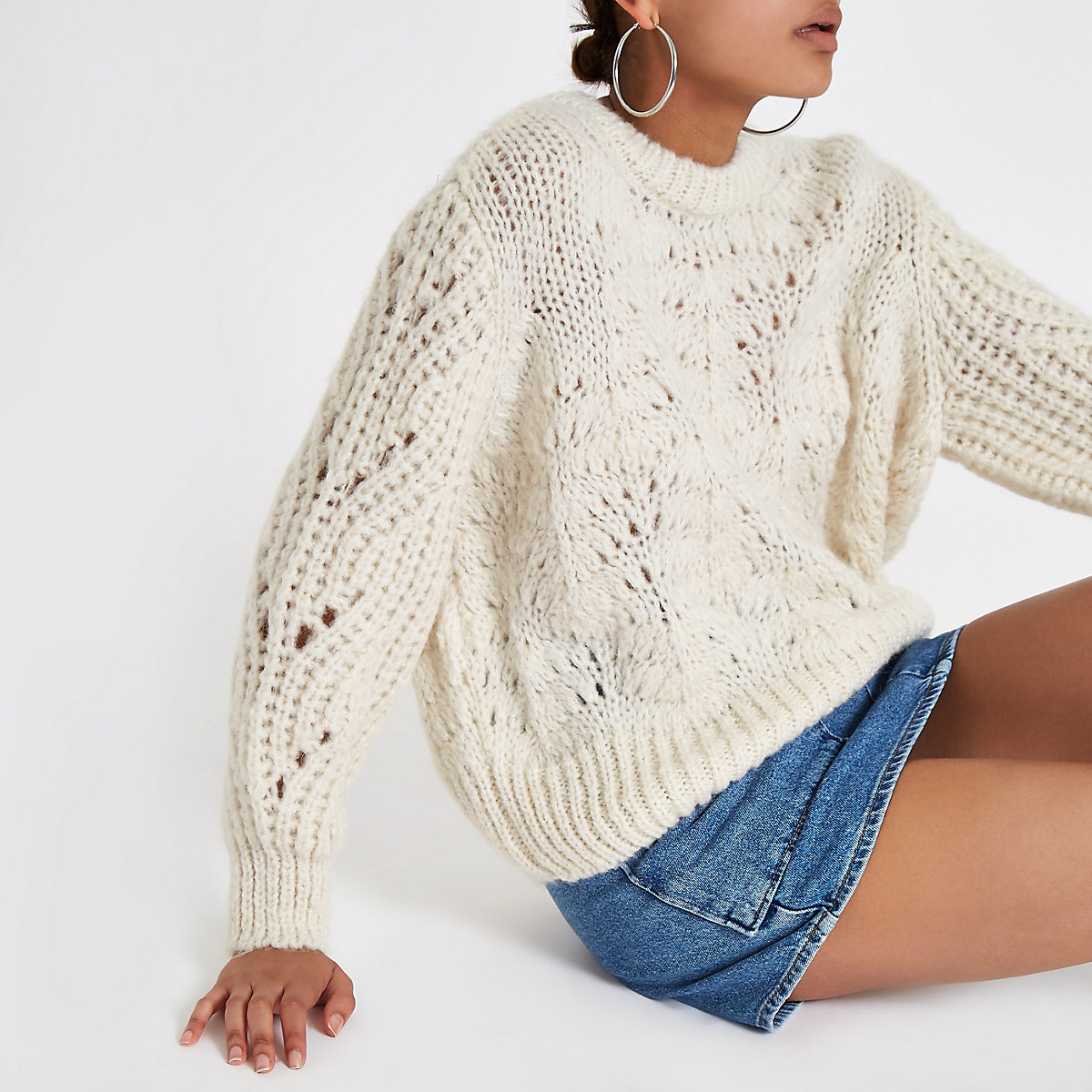 06584c177c Cream chunky knit sweater - Sweaters - Knitwear - women