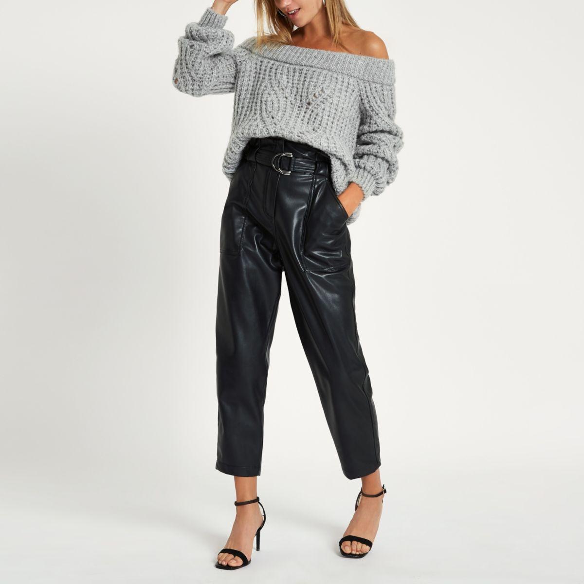 Grey knit bardot sweater