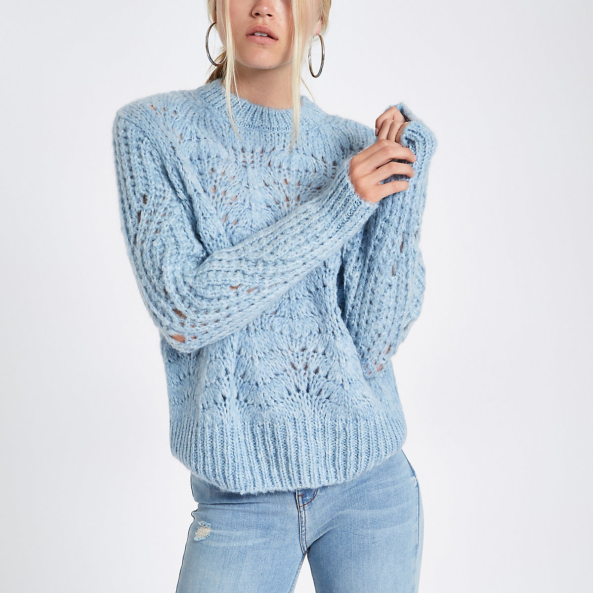 Light blue knitted jumper
