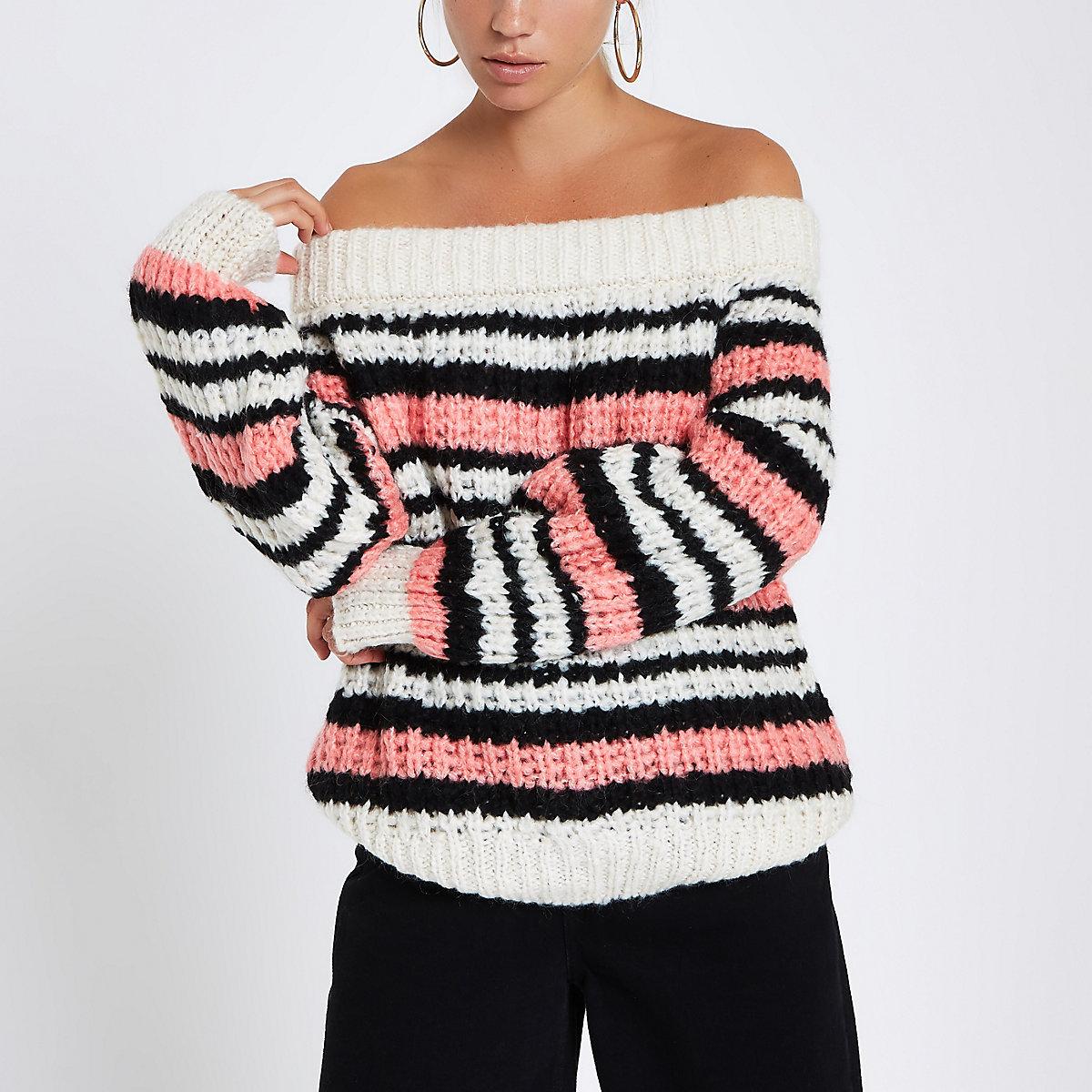 Pink stripe knitted bardot jumper