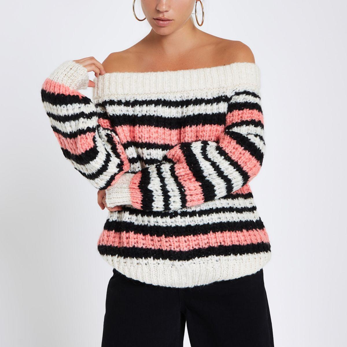 Pink stripe knitted bardot sweater