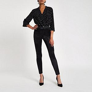 Pantalon skinny disco noir à taille haute