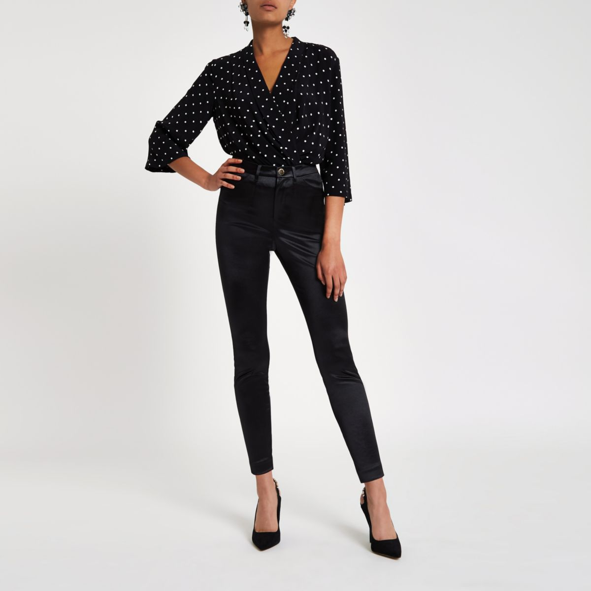 Black high waist skinny disco trousers