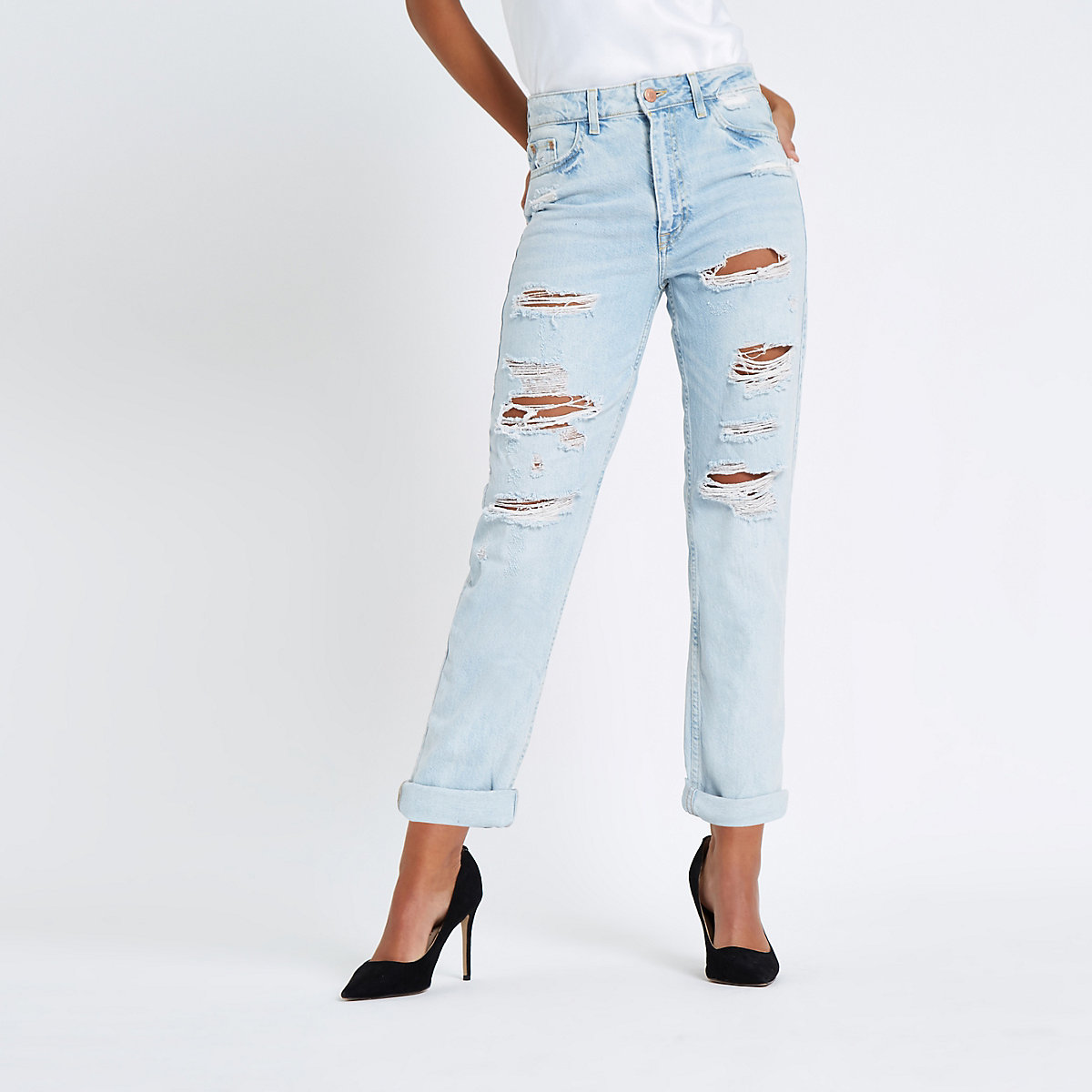 Light blue high rise mom fit ripped jeans