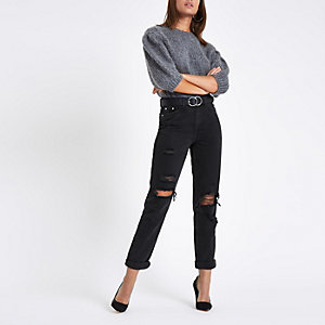 Zwarte ripped mom jeans met hoge taille