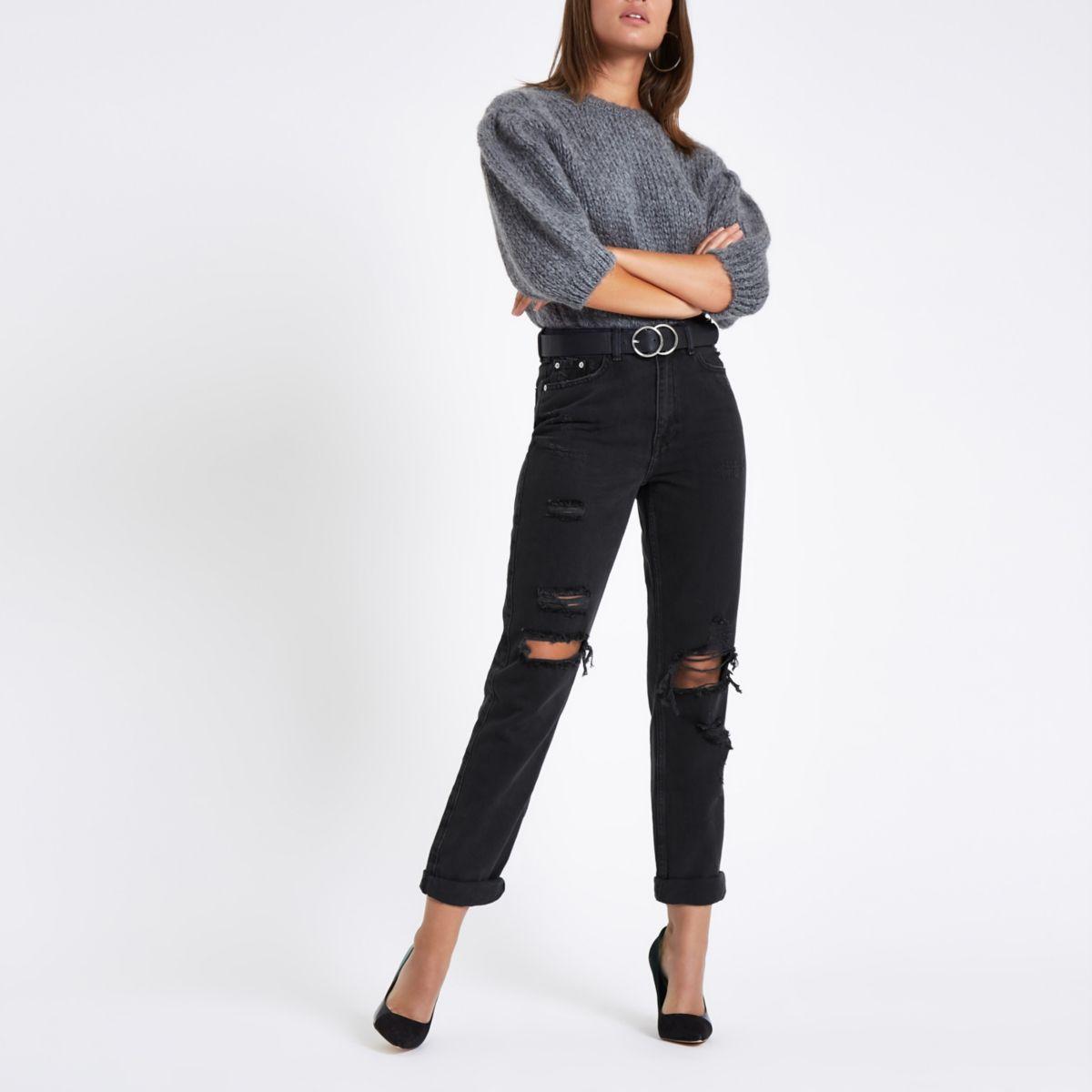 Zwarte ripped mom jeans met hoge taille