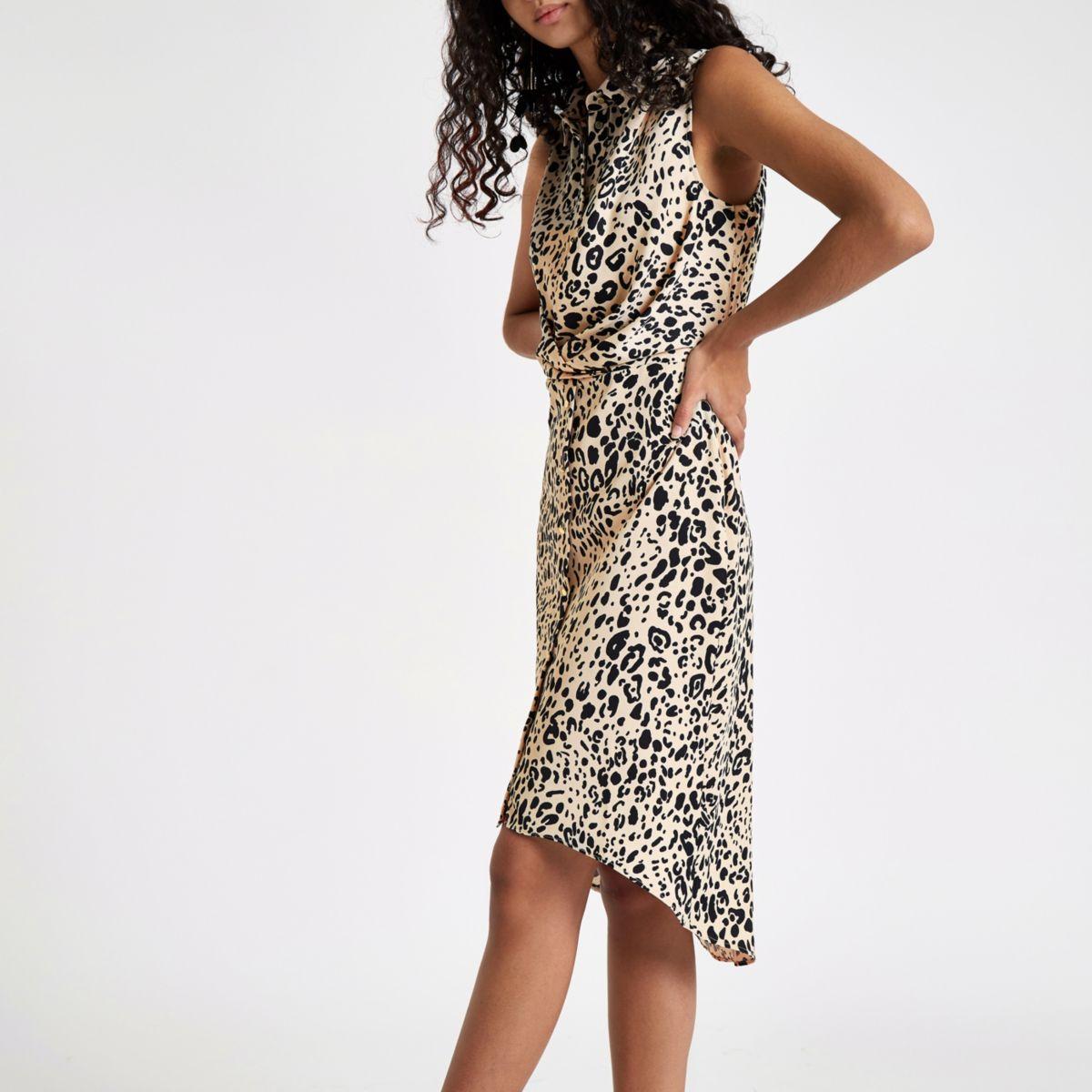 White leopard print wrap shirt dress