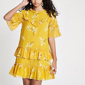Robe fluide jaune à sequins et imprimé fleuri