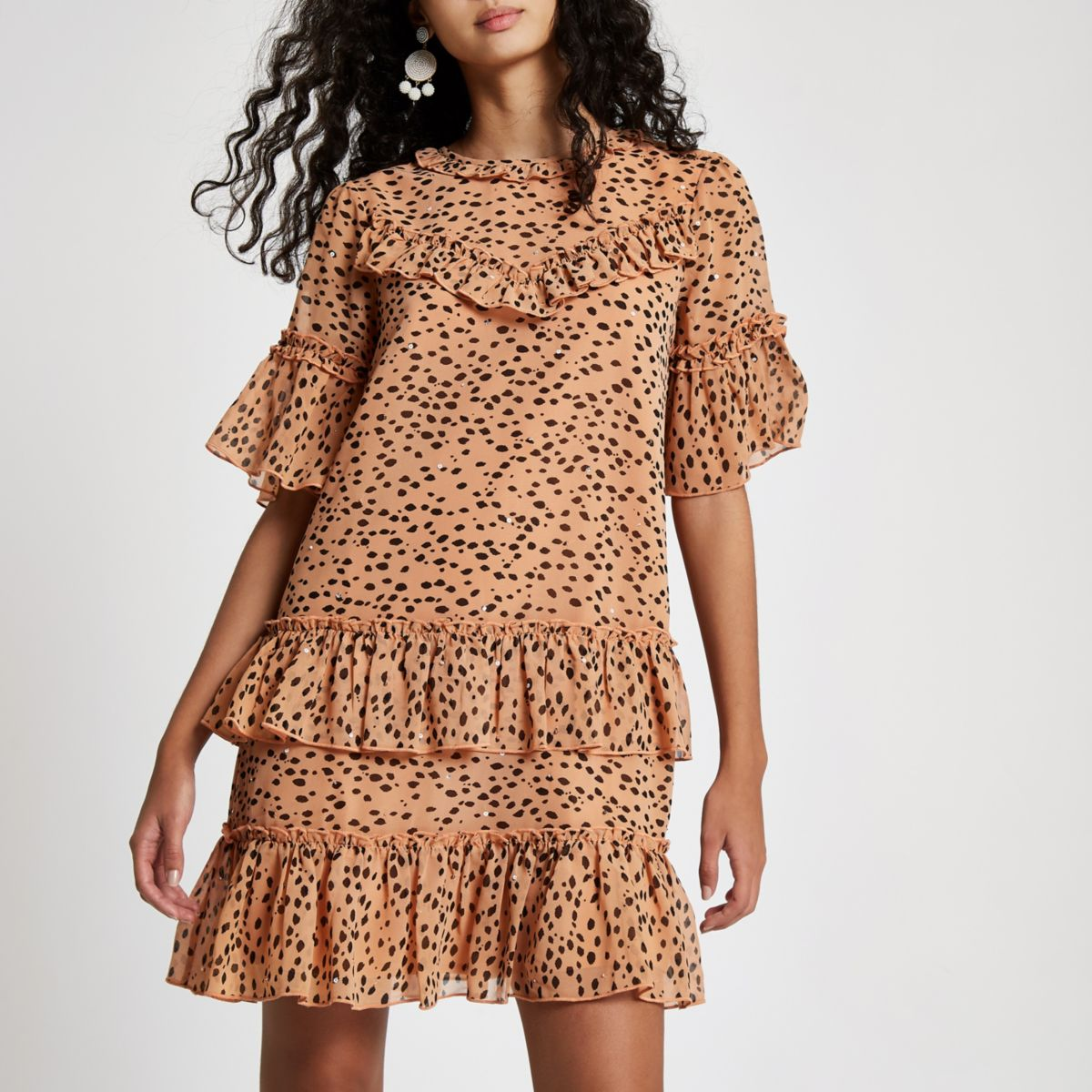 Beige leopard print sequin swing dress