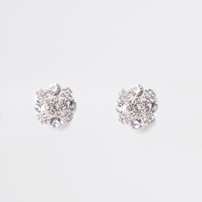 White Diamante Clip On Earrings by River Island
