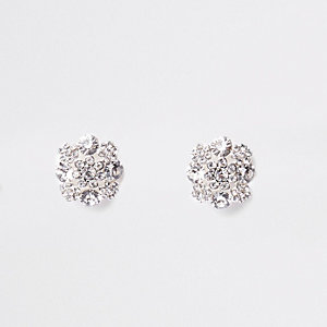 White diamante clip on earrings