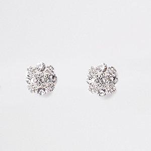 Witte oorbellen met clip en diamantjes