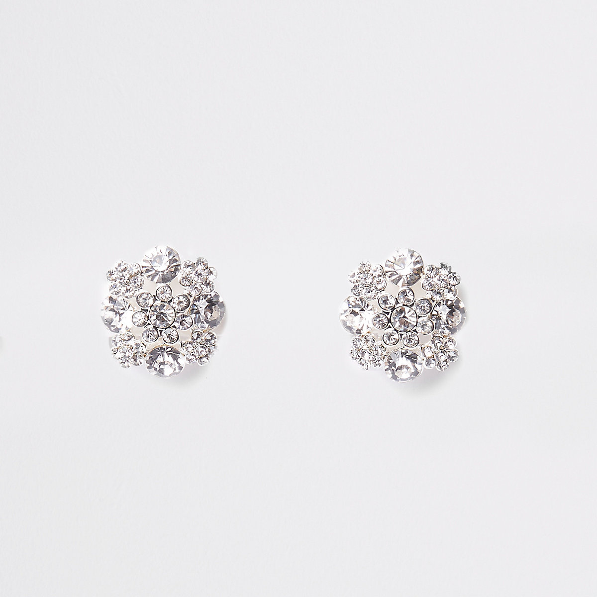 White rhinestone clip on earrings
