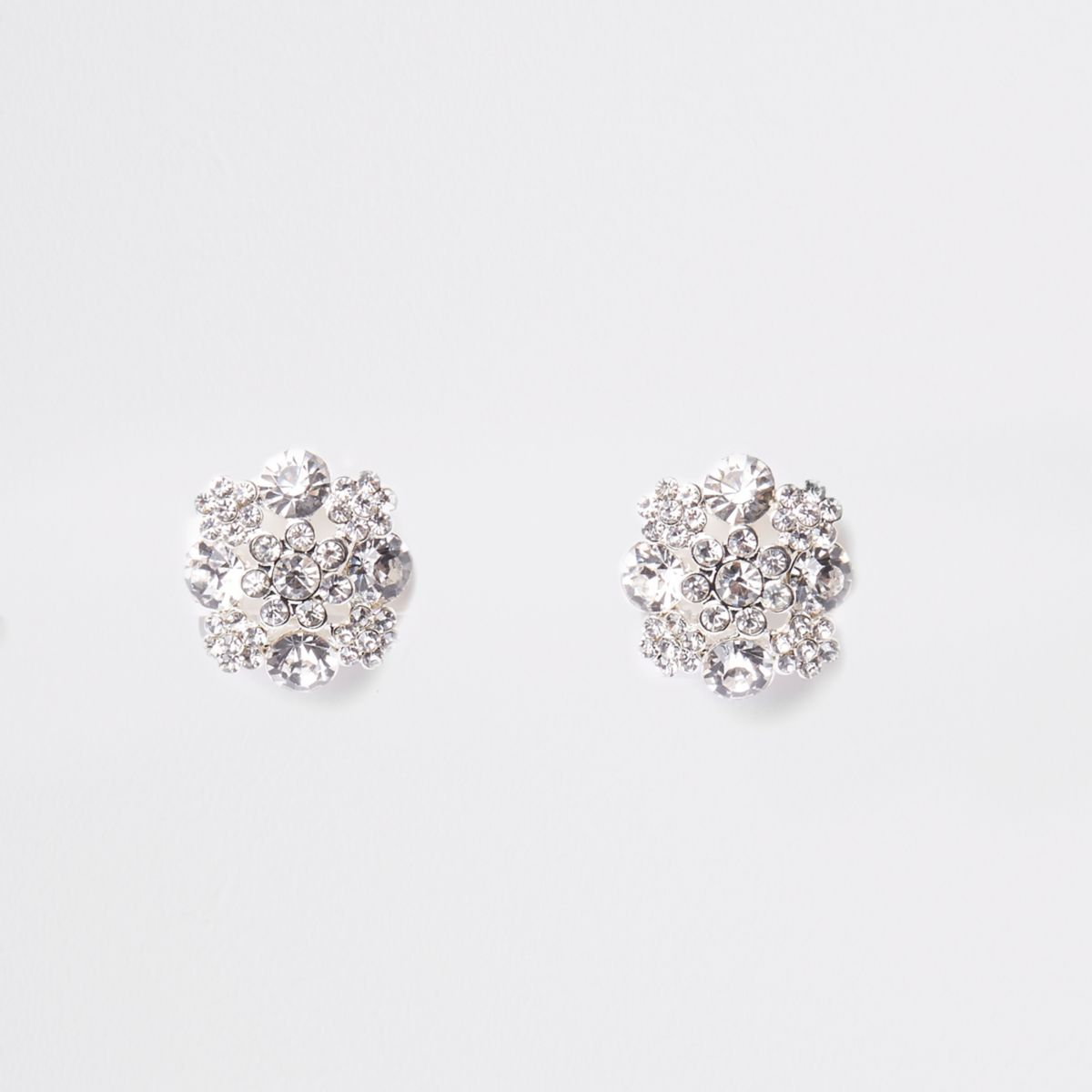 White rhinestone clip on earrings