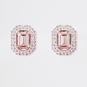 Light pink jewel embellished clip on earrings