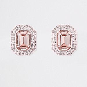 Boucles d'oreilles à clip ornées de pierres rose clair