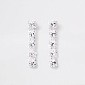 Silver tone diamante clip on drop earrings