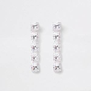 Zilverkleurige oorhangers met clip en diamantjes