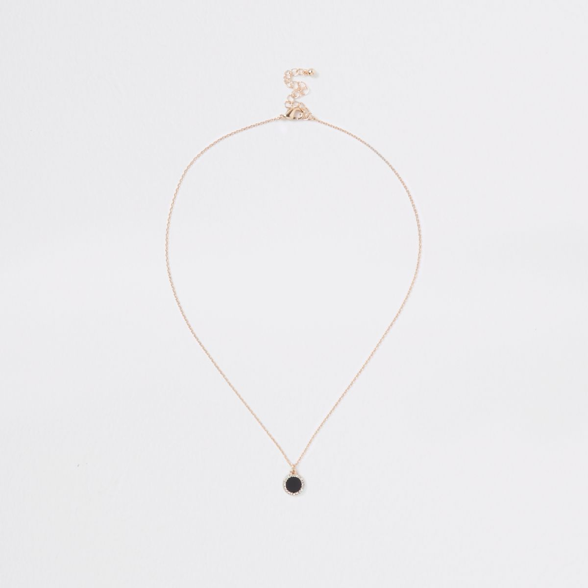 Black gold tone rhinestone pendant necklace