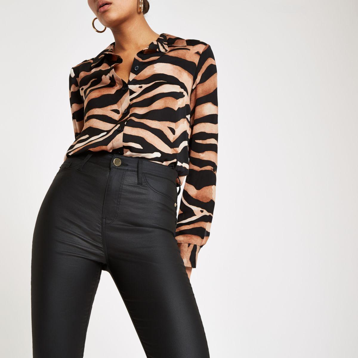 Harper - Zwarte gecoate skinny jeans met hoge taille